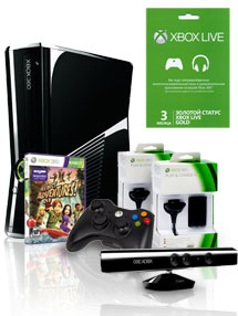 Xbox 360 250 Gb Kinect + Kinect Adventures + Controller Wireless R + 2 Play & Charge Kit + Live 3 месяца