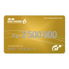 Карта оплаты Gran Turismo 6 2.5 млн. кредитов