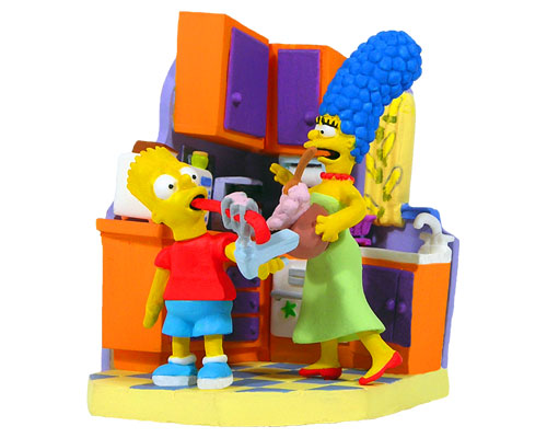 Мардж и Барт на кухне. Симпсоны.
