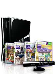 Xbox 360 250 Gb Kinect + Kinect Adventures + Kinect Rush + Kinect Training + Kinect Sports Ultimate