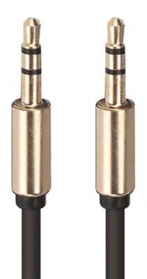 Кабель DA DT0007GD, Jack 3,5 мм - Jack 3,5 мм, металлические коннекторы, черно-золотой фото