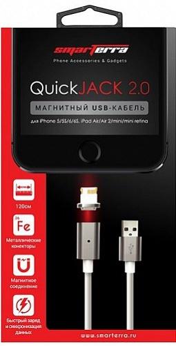 Магнитный USB-кабель Smarterra QuickJack 2.0 для устройств Apple c разъемом Lightning (PVC,белый) фото