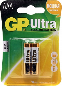 Элемент питания ААА GP Ultra Alkaline 24AU-CR2 (LR03 ААА) 2шт
