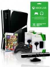 Xbox 360 250 Gb Kinect + Kinect Adventures + Controller Wireless R + 2 Play & Charge Kit + Live 12 месяца