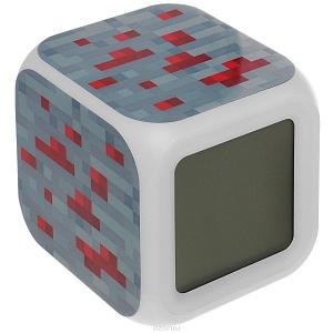 Minecraft Часы настольные пиксельные с подсветкой Блок красной руды