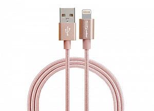 USB-кабель Smarterra STR-AL002M (1м, нейлон, роз. золото)