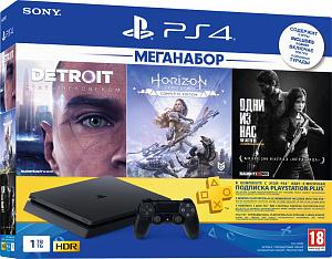 Sony PlayStation 4 Slim 1 TB (CUH-2208B) + Одни из нас. Обновленная версия + Detroit: Стать человеком + Horizon Zero Dawn. Complete Edition + подписка PlayStation Plus на 3 мес. фото