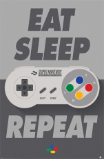 Постер Maxi Pyramid – Nintendo (Eat Sleep SNES Repeat)