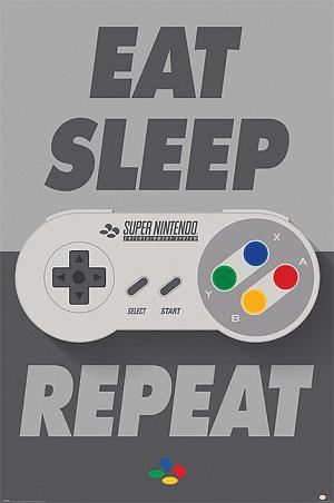 Постер Maxi Pyramid – Nintendo (Eat Sleep SNES Repeat) фото