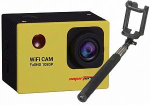 Набор: экшн камера Smarterra W4 (желтый) + монопод CLEVER Compact SMD-02B (черный)