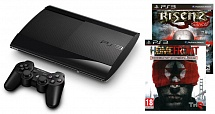 PlayStation 3 500 GB  + 2 игры: Risen 2. Dark Waters + Homefront Special Edition