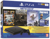 Sony PlayStation 4 Slim 1 TB (CUH-2208B) + Grand Theft Auto V. Premium Edition + Жизнь после + Horizon Zero Dawn. Complete Edition + Fortnite + подписка PlayStation Plus на 3 мес.