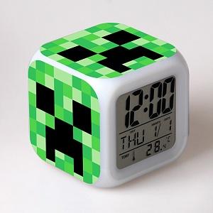 Minecraft Часы настольные пиксельные с подсветкой Creeper