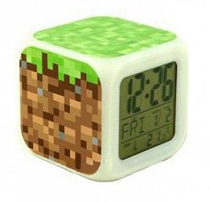 Minecraft Часы настольные пиксельные с подсветкой Блок земли