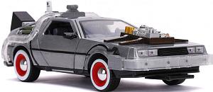 Модель машины Hollywood Rides – Back to the Future 3: Time Machine Primer Brushed Raw Metal (масштаб 1:24) (32166)
