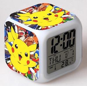 Часы настольные пиксельные с подсветкой Покемон Пикачу Pikachu Pokemon