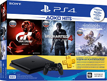 Sony PlayStation 4 Slim 500 Gb (CUH-2108A) + Horizon Zero Dawn + Uncharted 4: Путь вора + Gran Turismo Sport + подписка PlayStation Plus на 3 мес.