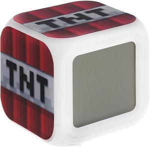 Часы настольные пиксельные с подсветкой Блок ТНТ
