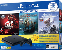 Sony PlayStation 4 Slim 1 TB (CUH-2208B) + Horizon Zero Dawn. Complete Edition + God of War + Gran Turismo Sport + подписка PlayStation Plus на 3 мес.