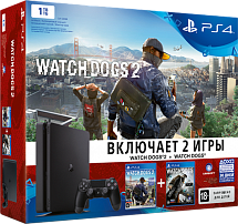 Sony PlayStation 4 1TB Slim + Watch Dogs 2 + Watch Dogs