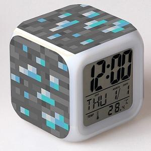 Часы настольные пиксельные с подсветкой Блок алмазной руды