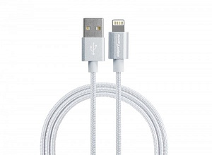 USB-кабель Smarterra STR-AL002M (1м, нейлон, серебристый)